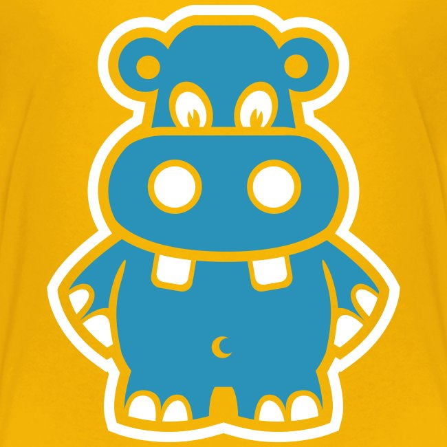 Cute For Kids - Blue Hippo (Yellow)