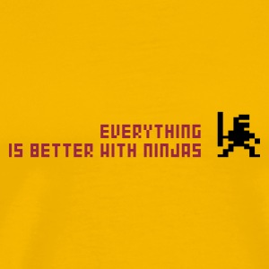 Gelb Everything is better with ninjas T-Shirt - Männer Premium T-Shirt