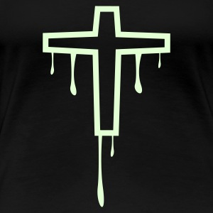 Zwart cross_kreuz_melting1 T-shirts - Vrouwen Premium T-shirt