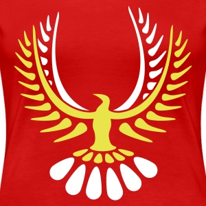 Stereo rot chick phoenix v5 bird wings feather (© alteerian) T-Shirts - Frauen Premium T-Shirt