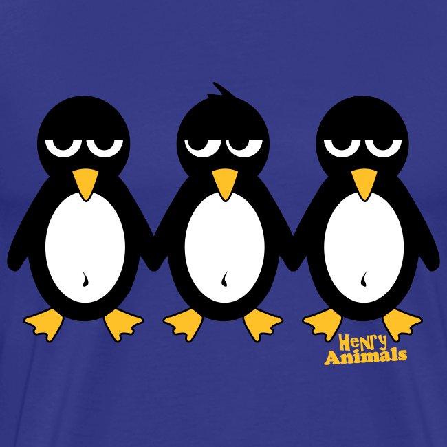 Basishirt royalblau mit 3 Pinguinen