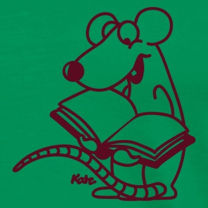 Mosgroen Reading Rat boekenworm  T-shirts - Mannen Premium T-shirt