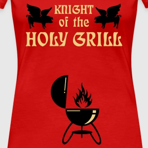 Donkerrood Knight of the holy grill (Txt, 2c) T-shirts - Vrouwen Premium T-shirt