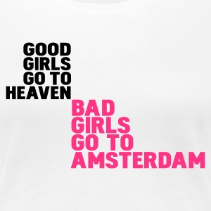 Wit bad girls go to amsterdam T-shirts - Vrouwen Premium T-shirt