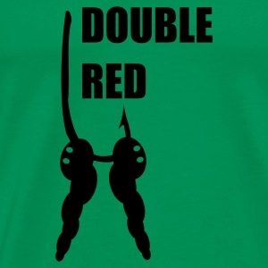 Double Red Maggot on Hook Fishing T-Shirt - Black Print - Men's Premium T-Shirt