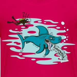 Pink Disgusted Shark Kids' Shirts - Teenage Premium T-Shirt