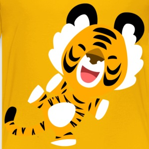 Yellow Cute Dancing Cartoon Tiger by Cheerful Madness!! Kids' Shirts - Teenage Premium T-Shirt