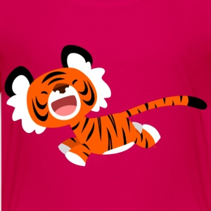 Pink Cute Running Cartoon Tiger by Cheerful Madness!! Kids' Shirts - Teenage Premium T-Shirt