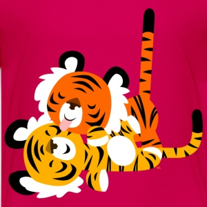 Pink Cute Affectionate Cartoon Tigers by Cheerful Madness!! Kids' Shirts - Teenage Premium T-Shirt