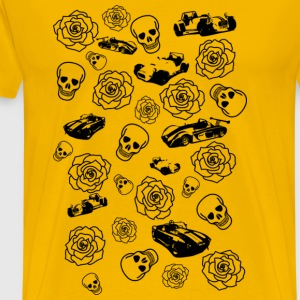 Skull, Rose and Car Print - Men's Premium T-Shirt