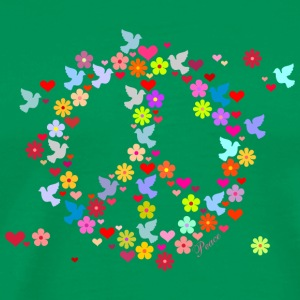 Flaskegrøn flower power fred / flower power peace (DDP) T-shirts - Herre premium T-shirt