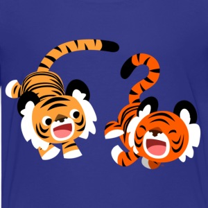 Cyan Cute Frolicking Cartoon Tigers by Cheerful Madness!! Kids' Shirts - Teenage Premium T-Shirt