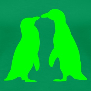 Vert tendre Penguins in love - love each other penguins - Penguins dans l'amour - l'amour les uns les autres pingouins T-shirts - T-shirt Premium Femme