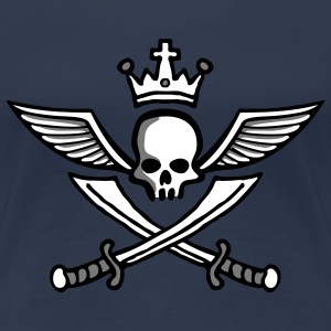 wingskull_comic_crown_sword_3c T-shirts - Vrouwen Premium T-shirt