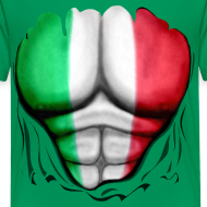 Design ~ Mexico Flag Ripped Muscles, six pack, chest t-shirt