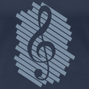 music_on_stripe_pattern_1c T-Shirts - Frauen Premium T-Shirt