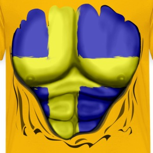 Sweden Flag Ripped Muscles, six pack, chest t-shir - Teenage Premium T-Shirt