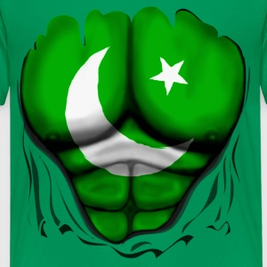 Pakistan Flag Ripped Muscles, six pack, chest t-sh - Teenage Premium T-Shirt