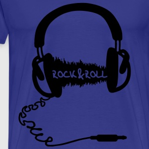 Headphone audio wave motif: Rock & Roll Music  T-Shirts - Men's Premium T-Shirt