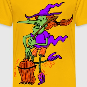 Crazy Witch Dancing with her Broomstick Kids' Shirts - Teenage Premium T-Shirt