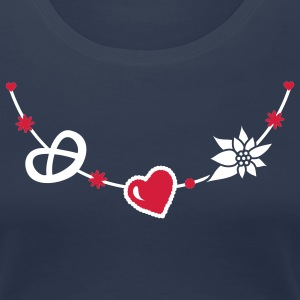 Dirndl jewelry with pretzel, gingerbread heart and Edelweiss T-Shirts - Women's Premium T-Shirt