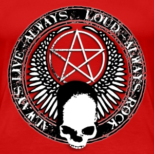rock_and_roll_and_skull_and_pentagram_bw T-Shirts - Women's Premium T-Shirt