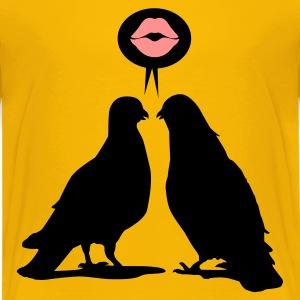 Kiss saying  Doves - Two Valentine Birds_2c Kinder T-Shirts - Teenager Premium T-Shirt