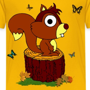 Nice squirrel on a trunk - T-shirt kid - Teenage Premium T-Shirt