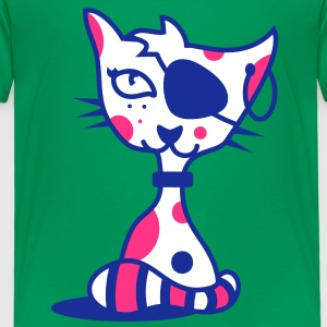 A cat with eye patch and earring Kids' Shirts - Kids' Premium T-Shirt