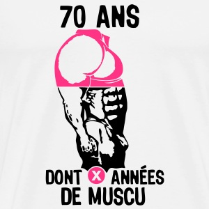 70 ans musculation bodybuilding anniver Tee shirts - T-shirt Premium Homme