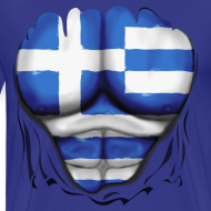 Design ~ Greece Flag Ripped Muscles six pack chest t-shirt