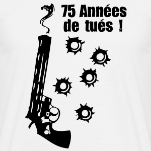75 ans pistolet fumer impact balle Tee shirts - T-shirt Homme
