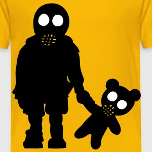 eddi pooh - kleiner Junge mit Teddy & Gasmaske / little boy with teddy and gas mask  (p, 2c) Kinder T-Shirts - Kinder Premium T-Shirt