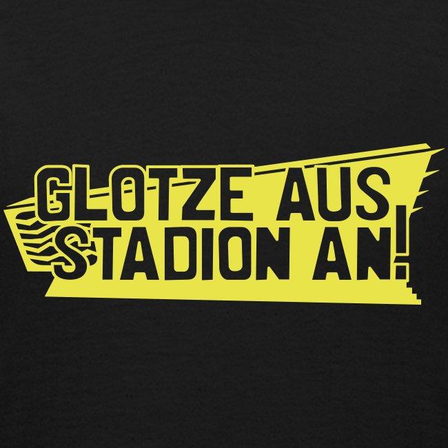 GLOTZE AUS, STADION AN! [Infantil/schwarz]