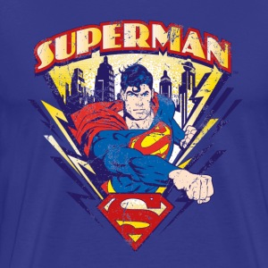 Superman T-Shirt Used Look für Männer  - Männer Premium T-Shirt