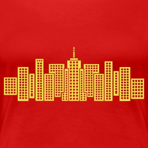 Red City Skyline Manhattan Women's Tees - Women's Premium T-Shirt