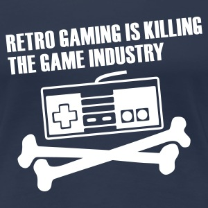 Navy Retro gaming Ladies' - Dame premium T-shirt