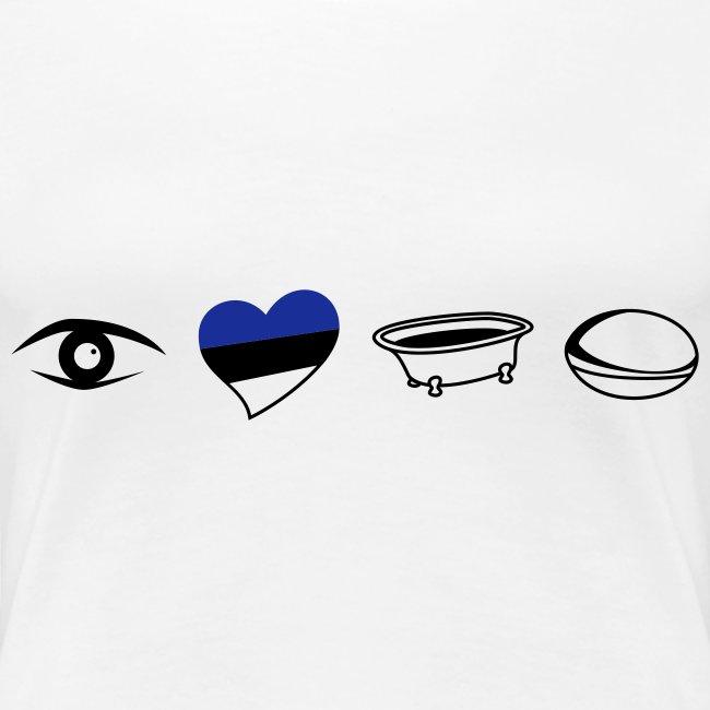 Women's Eye Heart Bath White Round T - Text