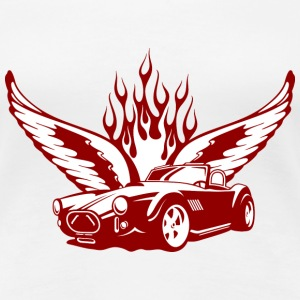 Weiß Wings at Car - feuerrot T-Shirts - T-shirt Premium Femme
