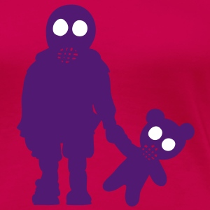 eddi pooh - kleiner Junge mit Teddy & Gasmaske / little boy with teddy and gas mask  (p, 2c) T-Shirts - Frauen Premium T-Shirt