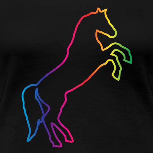 Rainbow Horse Outline T-Shirt