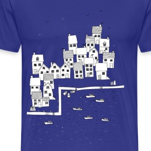 Fishing Village Sketch - Men's Premium T-Shirt
