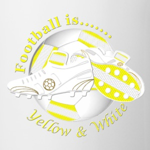Football is yellow and white Bottles & Mugs - Mug