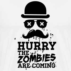 Hurry the zombies are coming zombie halloween Tee shirts - T-shirt Premium Homme