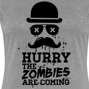 Hurry the zombies are coming zombie undead T-Shirts - Women's Premium T-Shirt