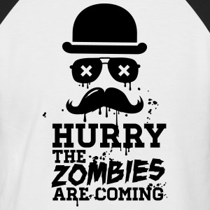 Hurry the zombies are coming zombie undead T-Shirts - Men's Baseball T-Shirt