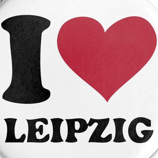 I love Leipzig Button weiß 32 mm