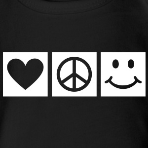 Peace Love Happiness * Smiley Smilie icon hart Shirts - Baby bio-rompertje met korte mouwen