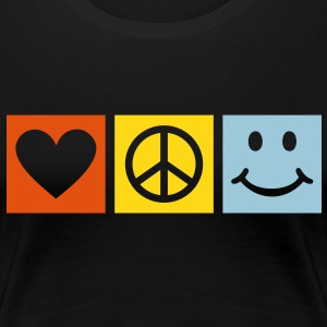 Peace Love Happiness * Smiley Smilie icon hart T-shirts - Vrouwen Premium T-shirt