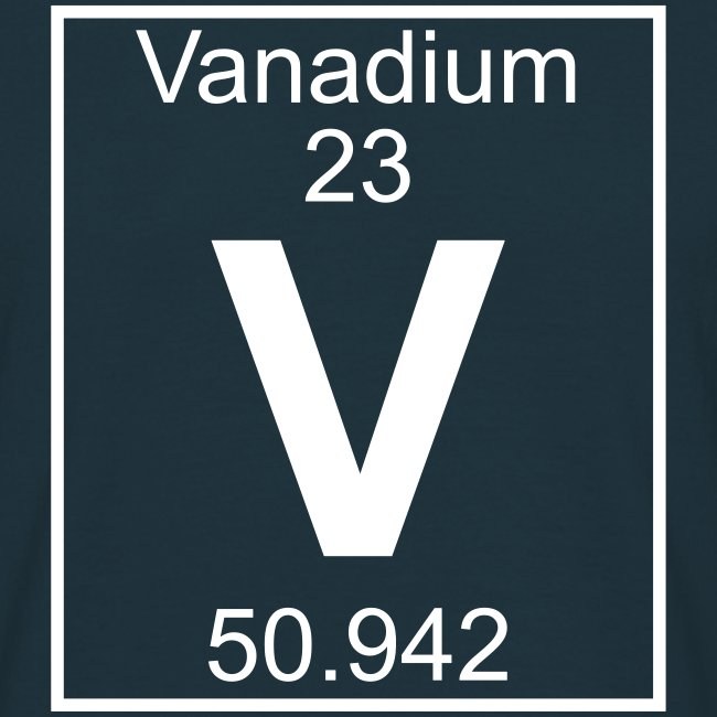 periodic table words vanadium v element 23 full 1 col shirt